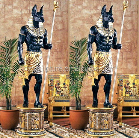 Ancient egyptian product resin Anubis with holding weapon sculpture