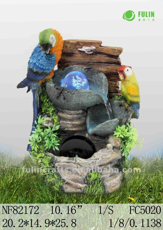polyresin parrots water fountain with LED,animal design