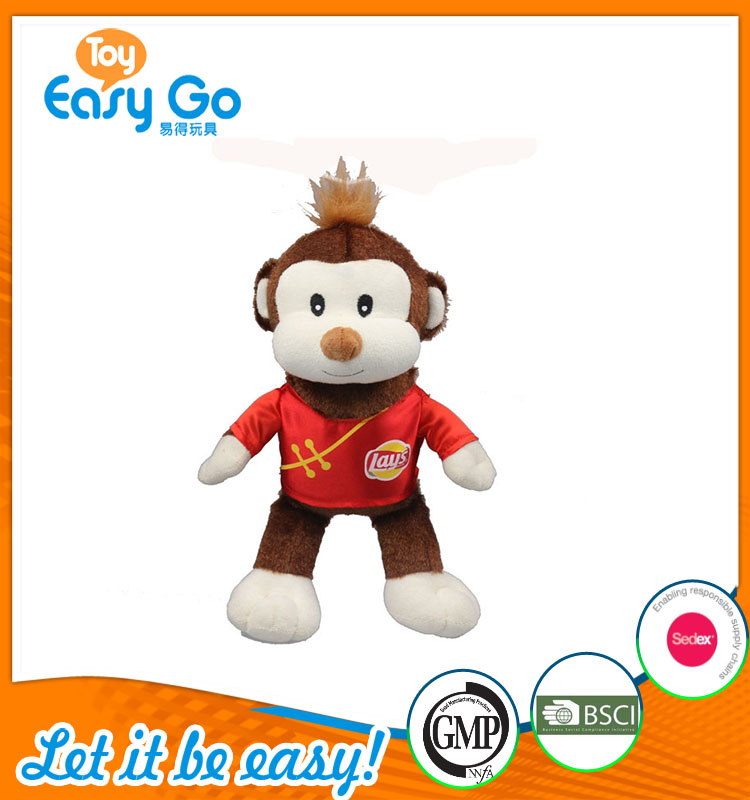 good sale high quality customized production cute brown monkey in red lays clothing plush toy