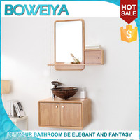 2015 Cheap Pakistan Free Standing Solid Oak Wood Mirror Vanity Cabinet With Glass Vessel Sink