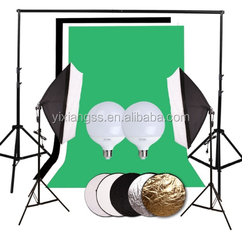 Photography Studio Set 2.8x3 meters background 3x1.6x3m non-woven two LED lamp 2 Light box xx2 tripod 60CM 5 in 1 reflector