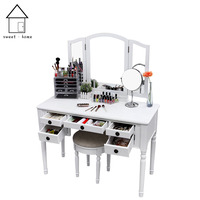 Customized new home wooden dressing table with mirror low price