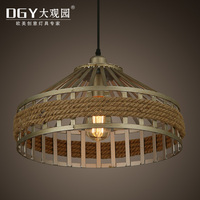 Umbrella shape silver color restaurant lights vintage retro rope pendant light