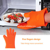 Custom silicone long household rubber glove for cooking in kitchen