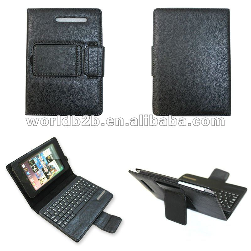 "Bluetooth plastic Keyboard Leather Cover Case for Google Nexus 7"" , back with stand"