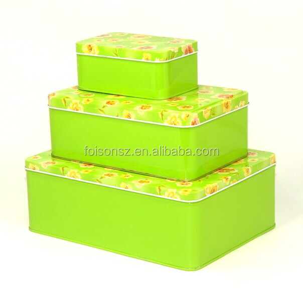 twinkling eye-catching green flower printing dessert tin packaging, metal tin box for biscuit, dessert tin can/box