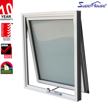 white color double glazed single hung aluminium window with chain winder