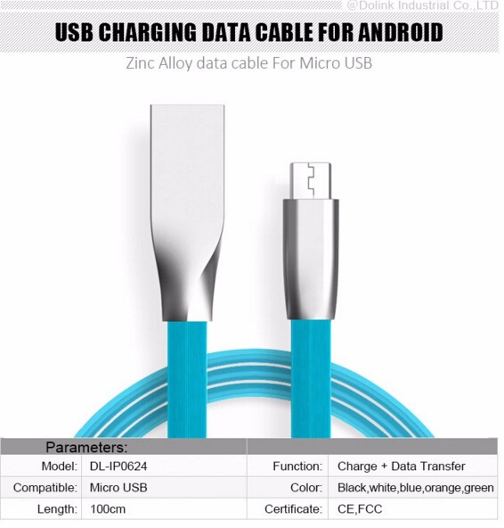 Wholesale Good Manufacturer quick Charging colorful Zinc Alloy Flat micro usb data cable charger For mobile Smart Phone