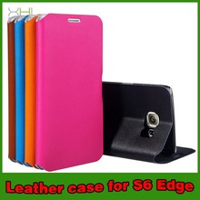 Wholesale Super Thin Genuine Leather Wallet Cases For Samsung Galaxy S6 Edge