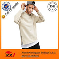 Wholesale oversized mens crew neck sweatshirt with side zips in beige