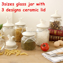 wholesale cheap different sizes glass candy jar with animal shape ceramic lid