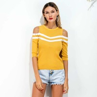 2018 Guangzhou Ladies spring summer light weight yellow striped open hole Cold shoulder knitwear tops fashionable women sweater