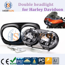 TOP Sales double headlight dual motorcycle headlamps for Harley Davidson, led motorcycle headlight