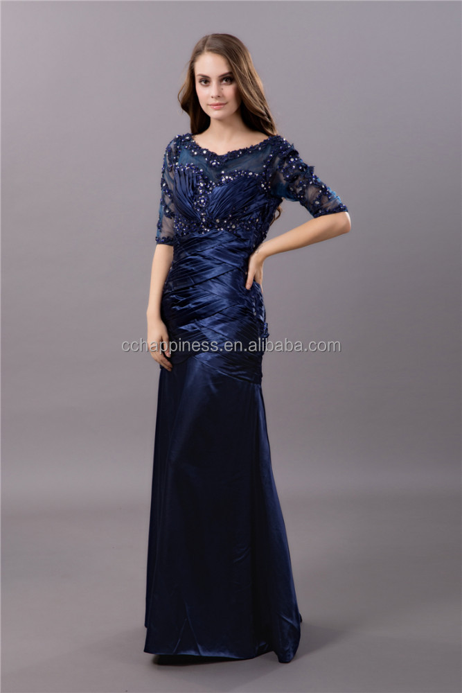 Elegant half sleeve sequined beading mother of the bride lace dresses long evening dresses