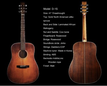 "41"" Antique finish handmade acoustic guitar"