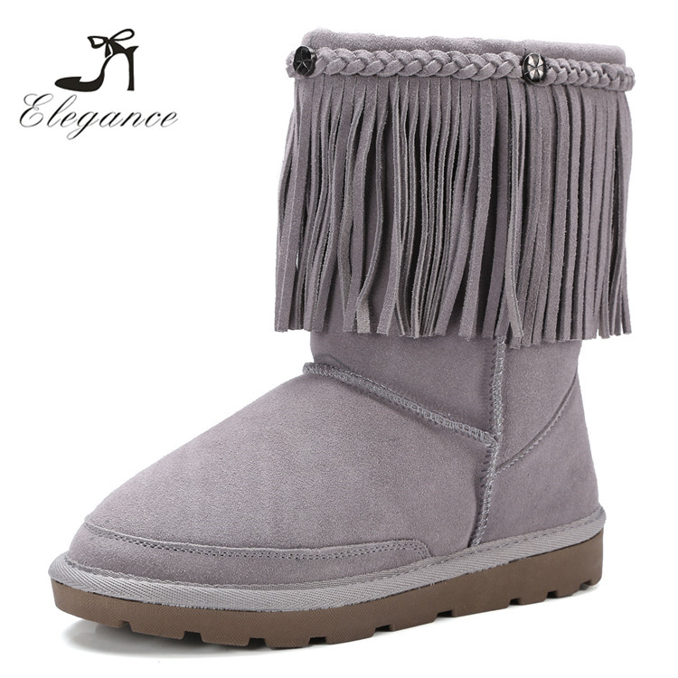 2017 Russia Winter Warm Grey Genuine Suede Fringe Nonslip Mid Calf Flats Tassels Boots
