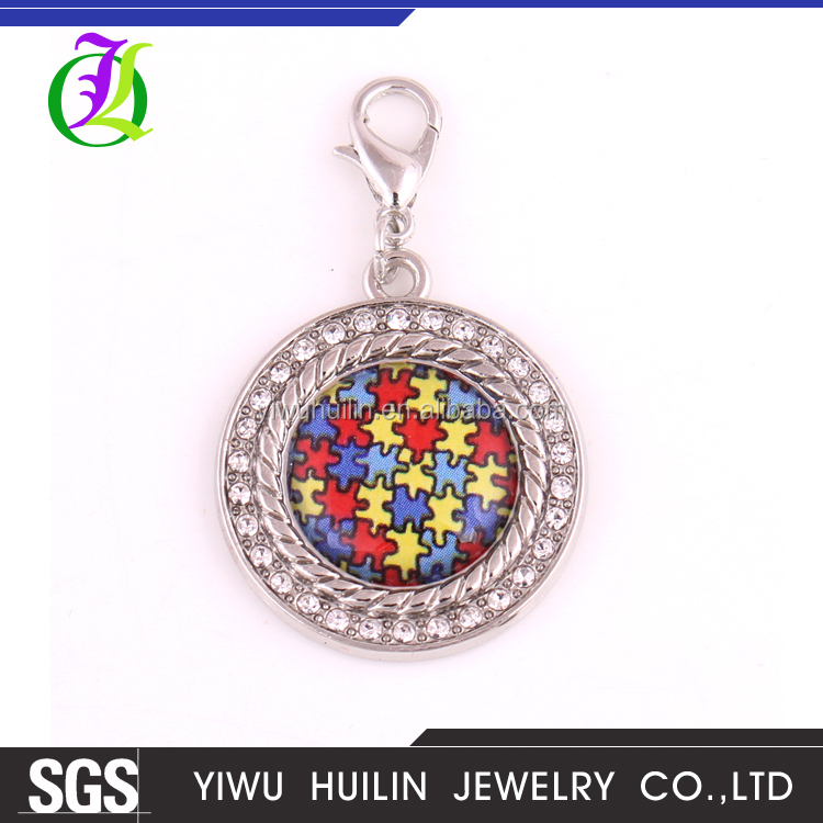P700003 Autism Awareness Necklace Pendants With <strong>Holes</strong> Hope Round Crystal Charm Wholesale DIY Jewellery Puzzle Piece Jigsaw