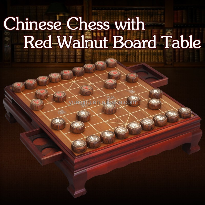 Wooden Chinese Chess Set With Customized Red Walnut Wooden