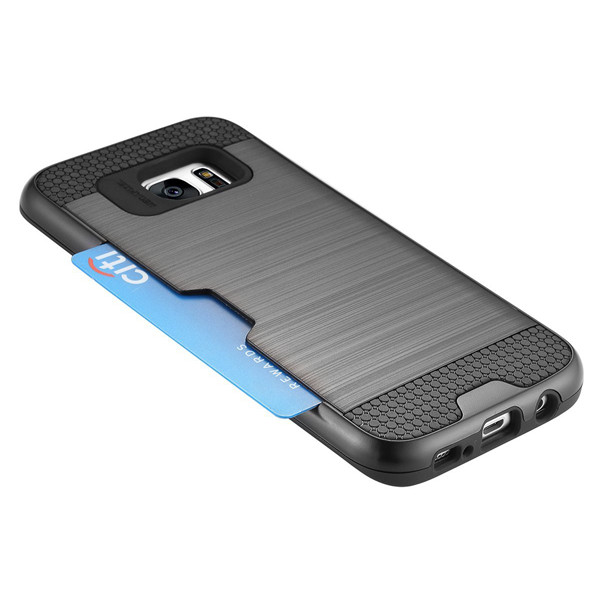 C&T Dual Layer Armor Hybrid Wallet Card Slots Case cover for Samsung Galaxy S7 Edge