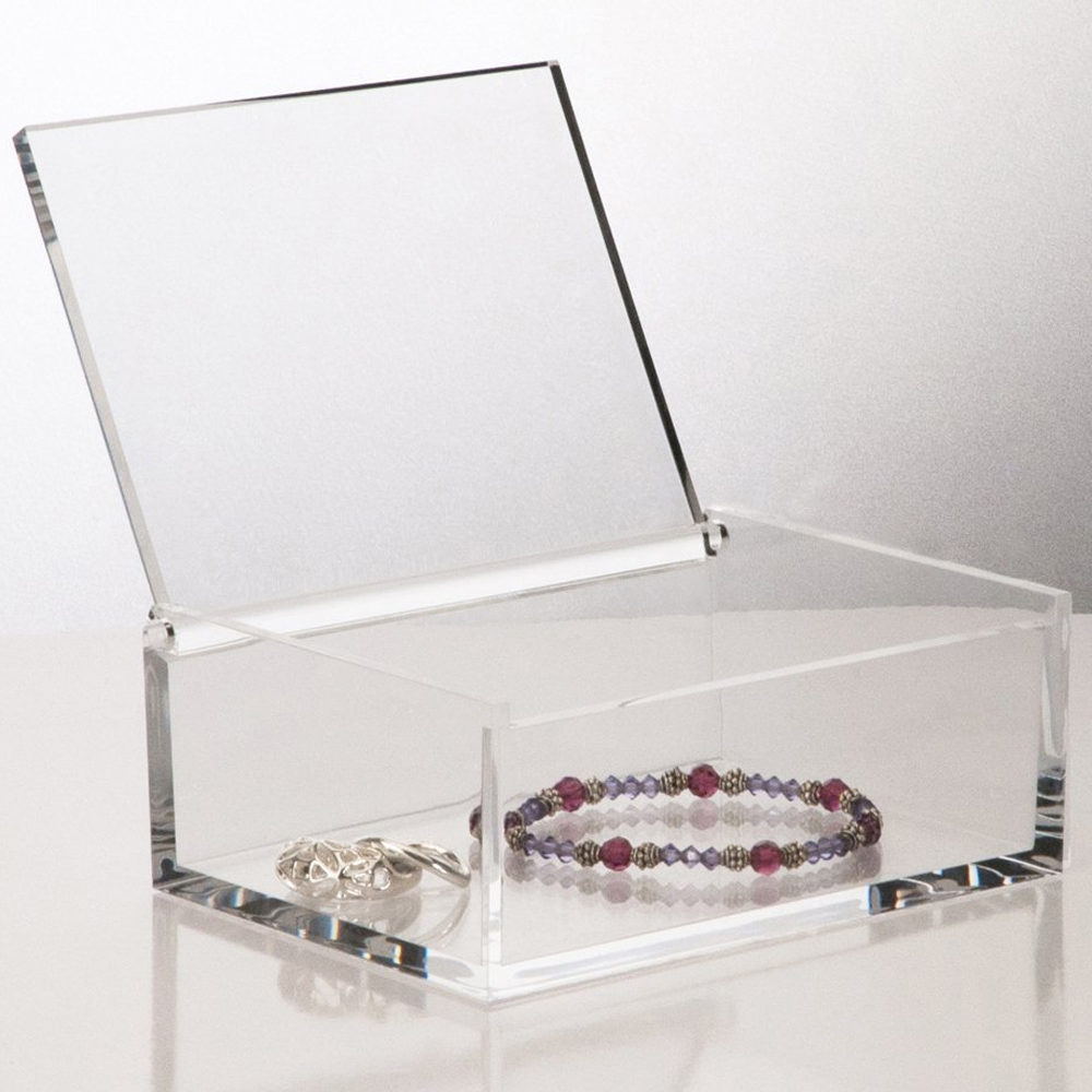 Clear acrylic cosmetic storage box jewellery box with flip up cover