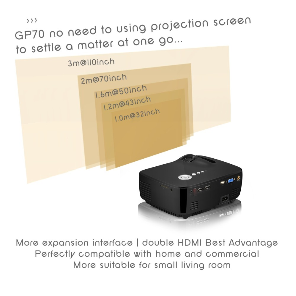 Vivibright GP70 1200 lumens mini projector for Private cinema with TV tuner,double HDMI, USB support 1080P home projector