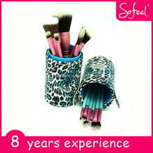 sofeel high quality synthetic hair makeup brush with leopard cup holder