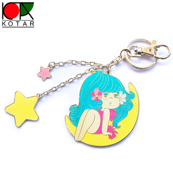 bespoke promotional lovely girl keychain