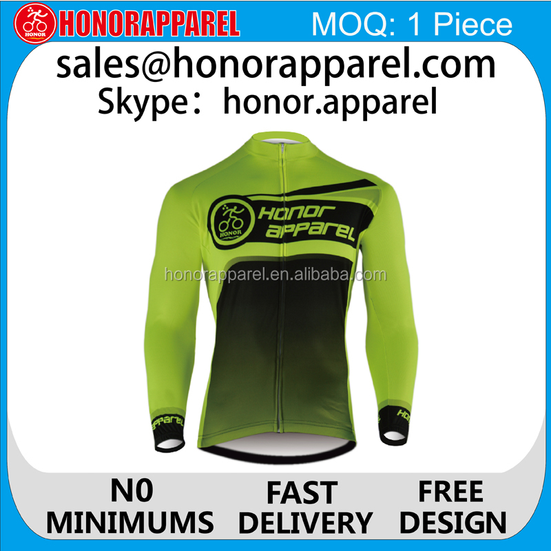 New arrival fluorescent yellow design jersey/outdoor riding jersey/cycling kit with customized honorapparel