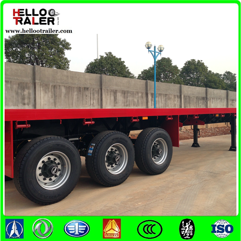 3 axle 40ft flatbed container semi trailer , Heavy duty 40 ton truck and trailer for sale