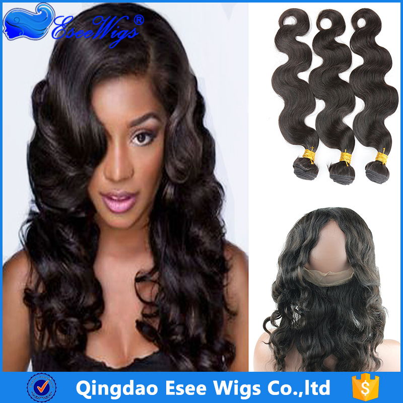 Brazilian human hair 360 lace frontal body wave with hair bundles
