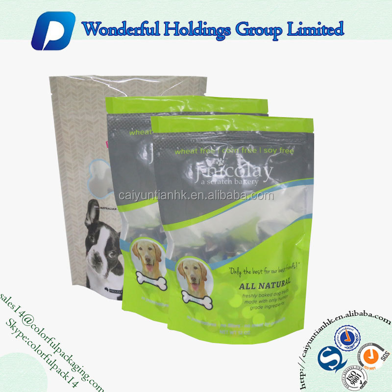 New colorful custom printed stand up pouch plastic zipper top packaging bag for dog food