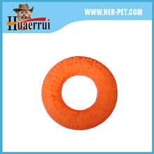 Custom plastic vinyl toys for pet dog Thrust ring barbell toys squeaky safe pet toy
