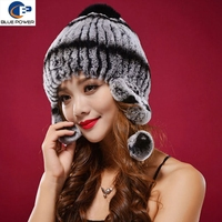 Korean Design Women Earflap Hat Cute Knitted Real Rex Rabbit Fur Hat with Pom Pom