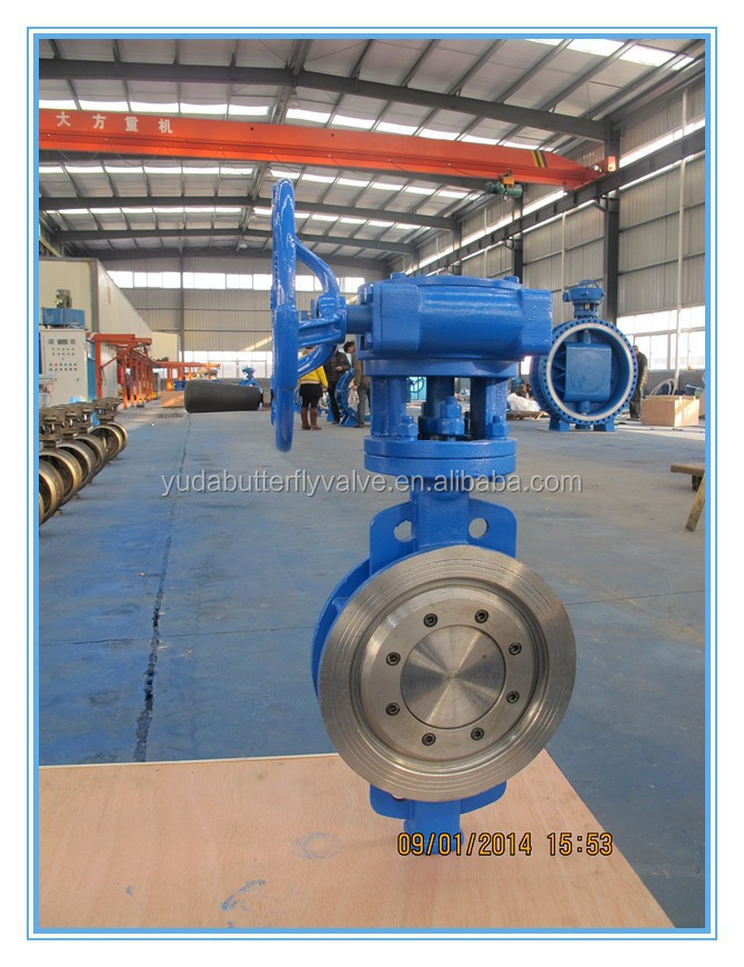 Triple offfset Wafer type butterfly Valve DN50--DN1000 with worm gear operation