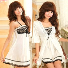 Sexy Women Twinset Lace Pajama Strap Sleep Night Dress Beautiful Girl's Sex Sleepwear Hot Sexi Girl Image 10901