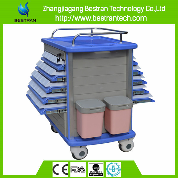 China BT-MY002 Hospital ABS mobile medicine trolley, stainless steel medical flat trolley for delivering things