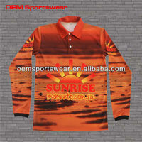 Custom sublimation promotional polo shirt with long sleeves