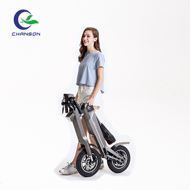 Folding delivery scooter electric bike on road
