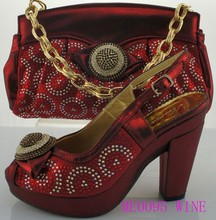 wholesale 2015 New arrival ME0095 wine color lady Italian shoes matching bag