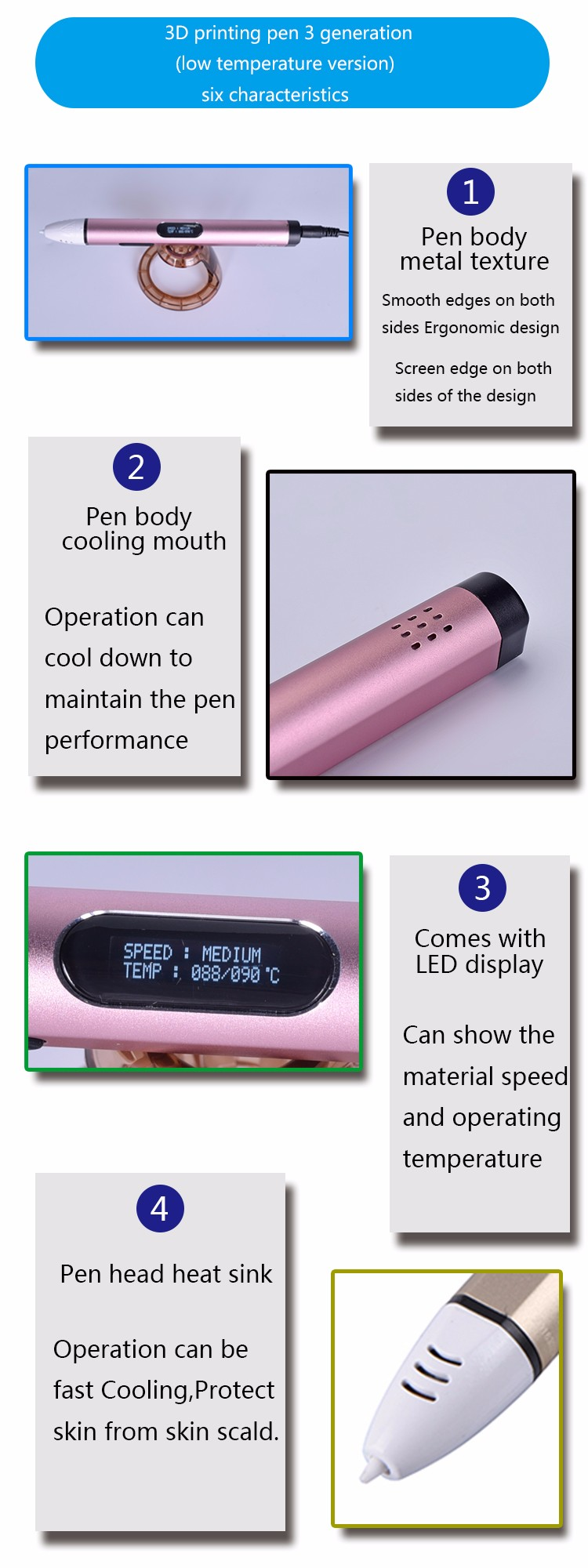 Hotsale Cheap Magic 3D Printing Pen with LCD Screen for Kids Gift Intelligent Printer DIY Pen