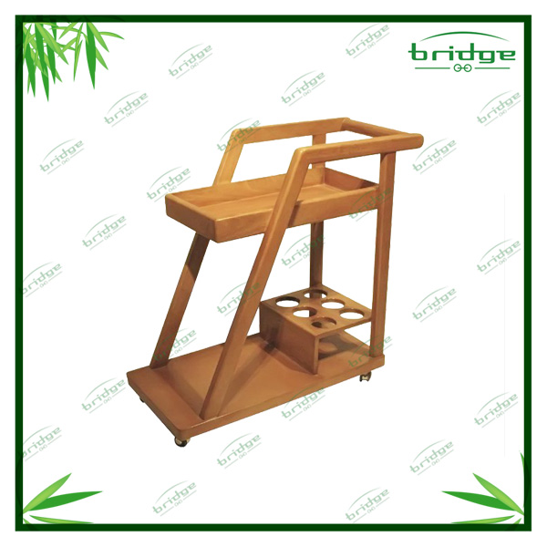 2-tier new arrival bamboo shoes rack holder storage shelf cart with wheel