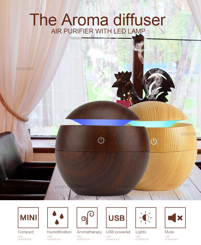 Diffuseur d'huiles essentielles USB KBAYBO en bois foncé, aromathérapie, miniature, humidifie