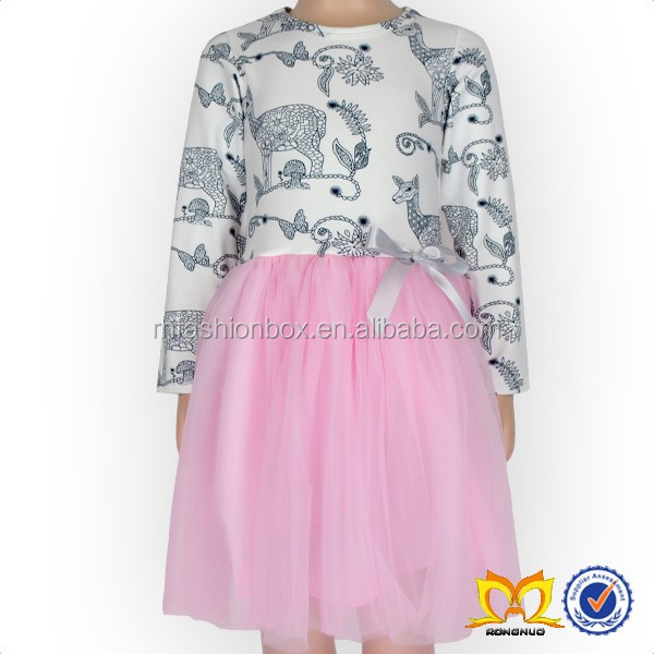 Girl Long Sleeves Pink Tulle Dress Kids Cotton Frocks Design Fancy Dresses Girls