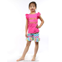 Girls short sleeve outfits chevron ruffle factory direct wholesale clothing