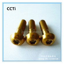 China fastener golden titanium round head cap screw