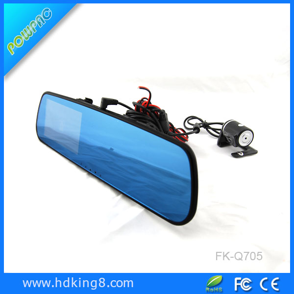 Car Recorder 4.3 inch rearview mirror monitor with DVR and reverse camera display