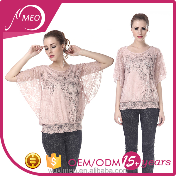 popular casual style large size Custom v-neck/o-neck front silk screen long lady blouse