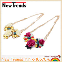 Multi color crystal flower necklace with pearl