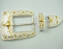 3 pcs western long horn bull belt buckle set silver with gold