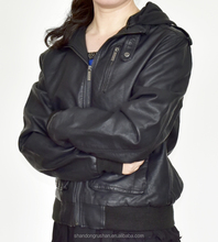 women's black pu leather jacket